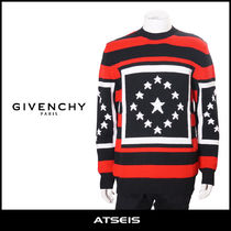 GIVENCHY Crew Neck Pullovers Star Wool Street Style Long Sleeves
