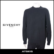 GIVENCHY Crew Neck Pullovers Street Style Long Sleeves Plain Cotton
