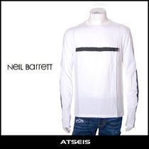 NeIL Barrett Crew Neck Pullovers Stripes Street Style Long Sleeves Cotton