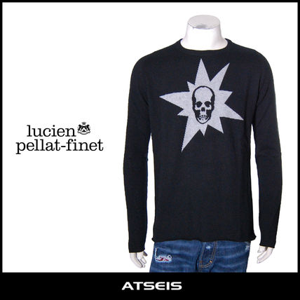 Crew Neck Skull Cashmere Low Gauge Street Style Long Sleeves