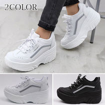 Platform Round Toe Lace-up Casual Style Street Style Plain