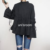 Casual Style Plain High-Neck Puff Sleeves Shirts & Blouses