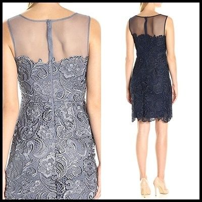 Decode 1.8 Short Flower Patterns Tight Sleeveless Boat Neck Lace