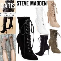 Steve Madden Lace-up Casual Style Plain Leather Pin Heels Lace-up Boots