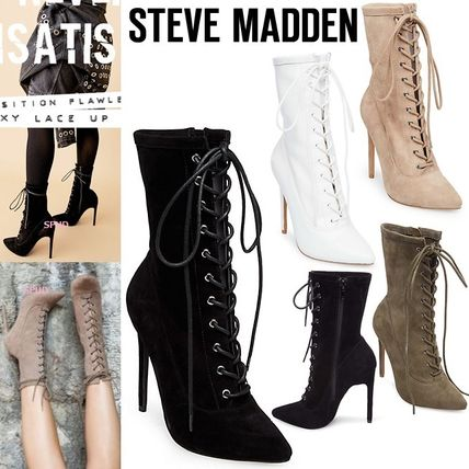 Lace-up Casual Style Plain Leather Pin Heels Lace-up Boots