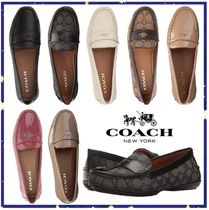 Coach Square Toe Casual Style Plain Leather Loafer Pumps & Mules