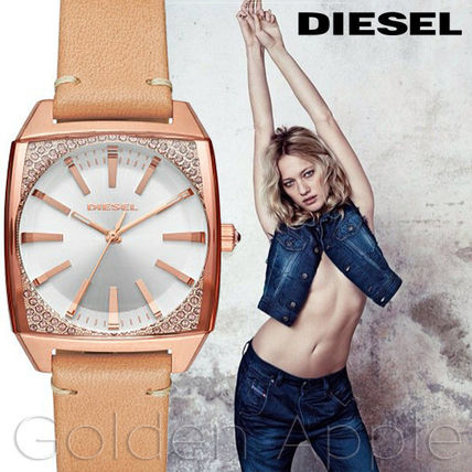 Leather Square Quartz Watches With Jewels Elegant Style