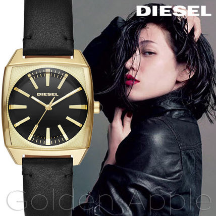 DIESEL Leather Square Quartz Watches With Jewels Elegant Style