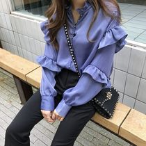 Lace-up Casual Style Chiffon Plain Medium Oversized