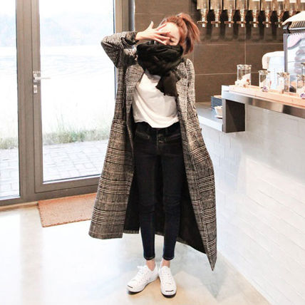 Other Check Patterns Casual Style Wool Long Chester Coats