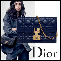 Christian Dior DIORADDICT Chain Plain Leather Party Style Clutches