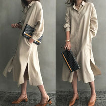 Casual Style Long Sleeves Plain Cotton Long Shirt Dresses