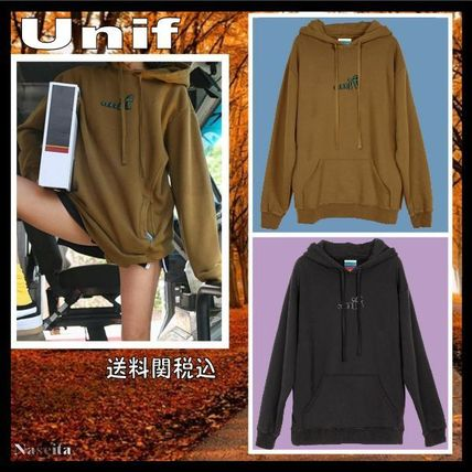 UNIF Clothing Crew Neck Pullovers Unisex Long Sleeves Plain Cotton Hoodies