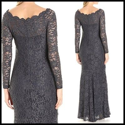 Decode 1.8 Flower Patterns Maxi Boat Neck Long Sleeves Long Lace