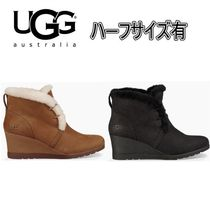 UGG Australia Round Toe Casual Style Fur Plain Wedge Boots