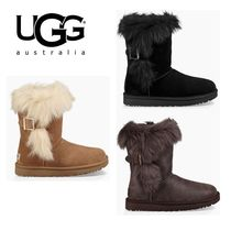 UGG Australia DEENA Round Toe Casual Style Fur Plain Ankle & Booties Boots