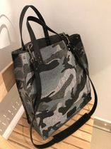 VALENTINO Camouflage Studded A4 2WAY Leather Totes