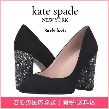 kate spade new york Round Toe Suede Plain With Jewels Elegant Style Chunky Heels