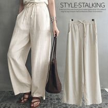 NANING9 Casual Style Linen Long Oversized Culottes & Gaucho Pants