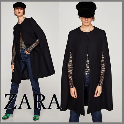 ZARA Plain Medium Elegant Style Wrap Coats