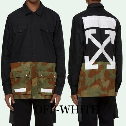 Off-White Camouflage Street Style Long Sleeves Plain Cotton Shirts