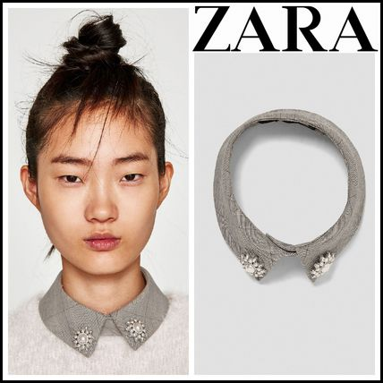 ZARA Other Check Patterns Cotton With Jewels Elegant Style