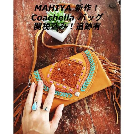 Casual Style Leather Fringes Shoulder Bags