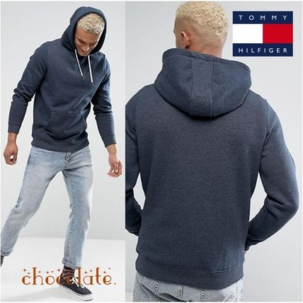 Tommy Hilfiger Pullovers Street Style Long Sleeves Plain Cotton Hoodies