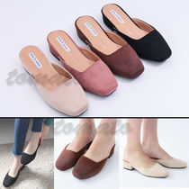 Square Toe Casual Style Suede Plain
