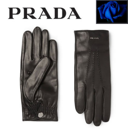 PRADA Street Style Plain Leather Leather & Faux Leather Gloves