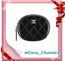 CHANEL MATELASSE Plain Leather Coin Purses