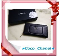 CHANEL ICON Calfskin Plain Long Wallet  Long Wallets