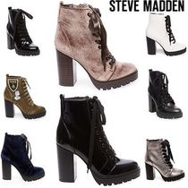 Steve Madden Platform Round Toe Plain Leather High Heel Boots