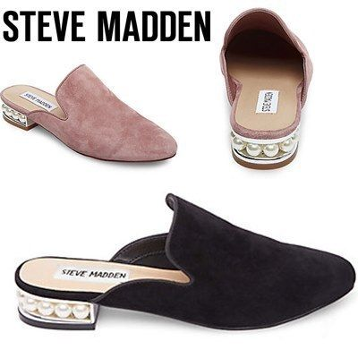 Steve Madden Round Toe Suede Plain Block Heels With Jewels