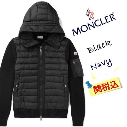 MONCLER Wool Blended Fabrics Plain Down Jackets