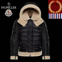 MONCLER Short Street Style Plain Leather Biker Jackets