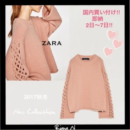 ZARA Plain Puff Sleeves Sweaters