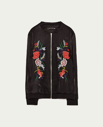 Flower Patterns Casual Style Varsity Jackets