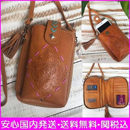 Flower Patterns Casual Style Tassel Leather Shoulder Bags