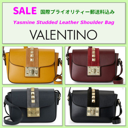 VALENTINO Studded Leather Elegant Style Shoulder Bags