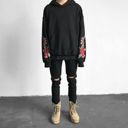 Pullovers Flower Patterns Sweat Street Style Long Sleeves