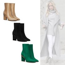 HERMES Casual Style Plain Block Heels Ankle & Booties Boots