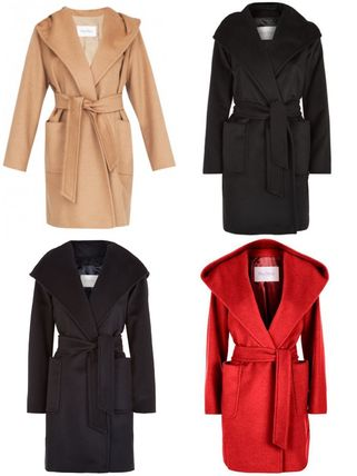 MaxMara RIALTO Wool Plain Medium Elegant Style Wrap Coats