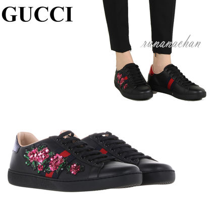 GUCCI Flower Patterns Round Toe Casual Style Street Style Leather