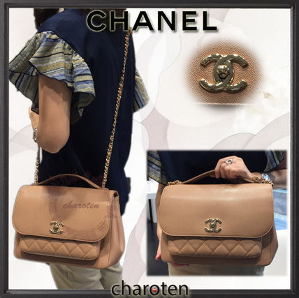 CHANEL ICON Calfskin 3WAY Chain Plain Elegant Style Luxury Brand Bag