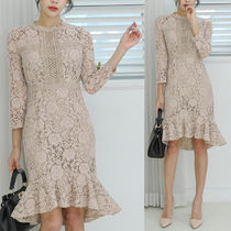 Flower Patterns Long Sleeves Long Party Style Lace Dresses