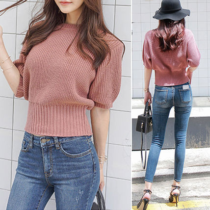 Short Casual Style U-Neck Plain Puff Sleeves Cropped