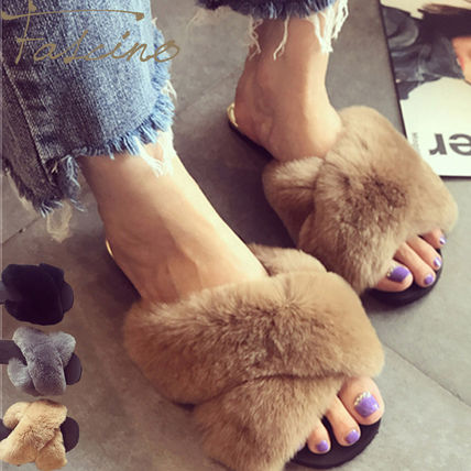 Square Toe Platform Casual Style Faux Fur Shower Shoes