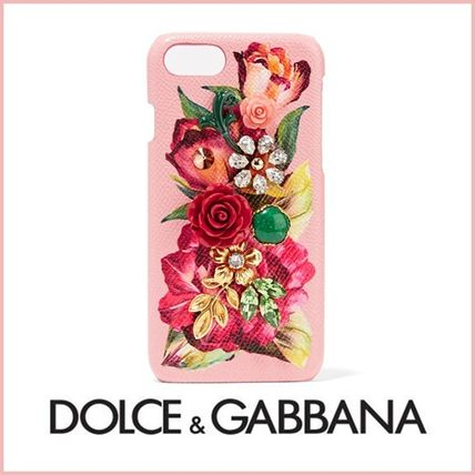 Dolce & Gabbana Flower Patterns Plain Leather With Jewels Smart Phone Cases