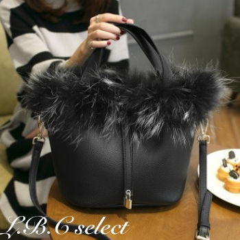 Casual Style Faux Fur 3WAY Plain Shoulder Bags